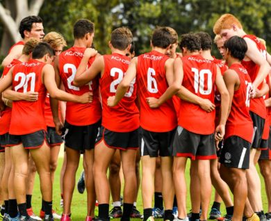QBE Sydney Swans Academy Youth Boys team huddle