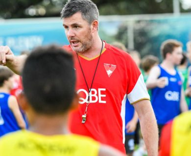 QBE Sydney Swans Academy youth boys coach speaking to team
