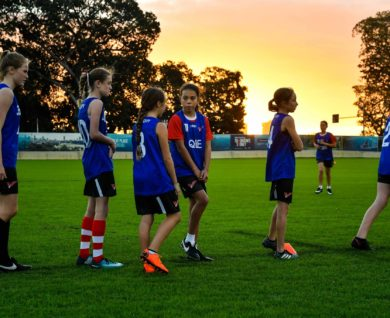 QBE Sydney Swans Academy Youth Girls waiting during training