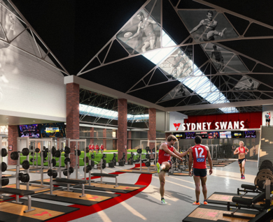 Artists impression of new home for sydney swans community centre